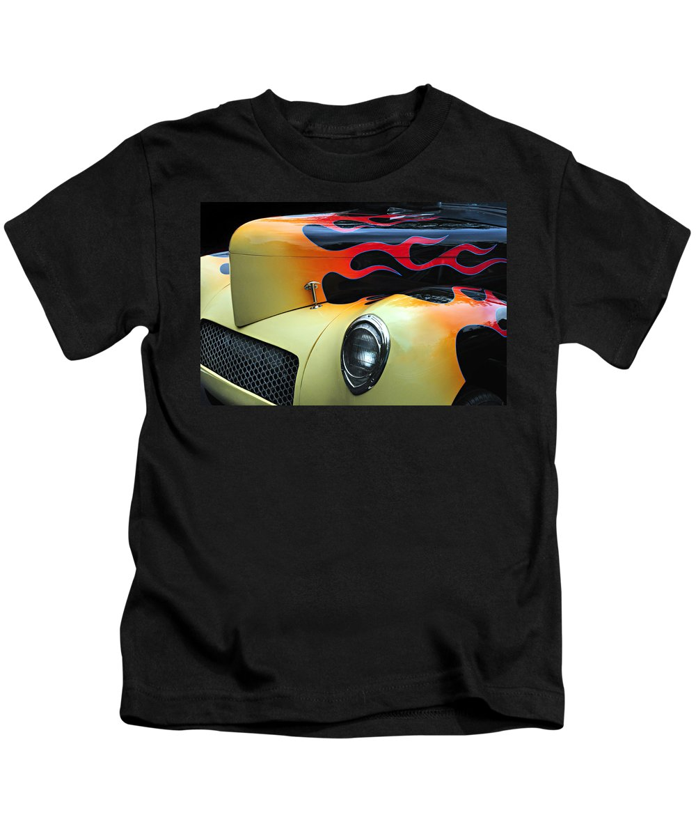 Custom Car Kids T-Shirt featuring the photograph Flames by Dave Mills