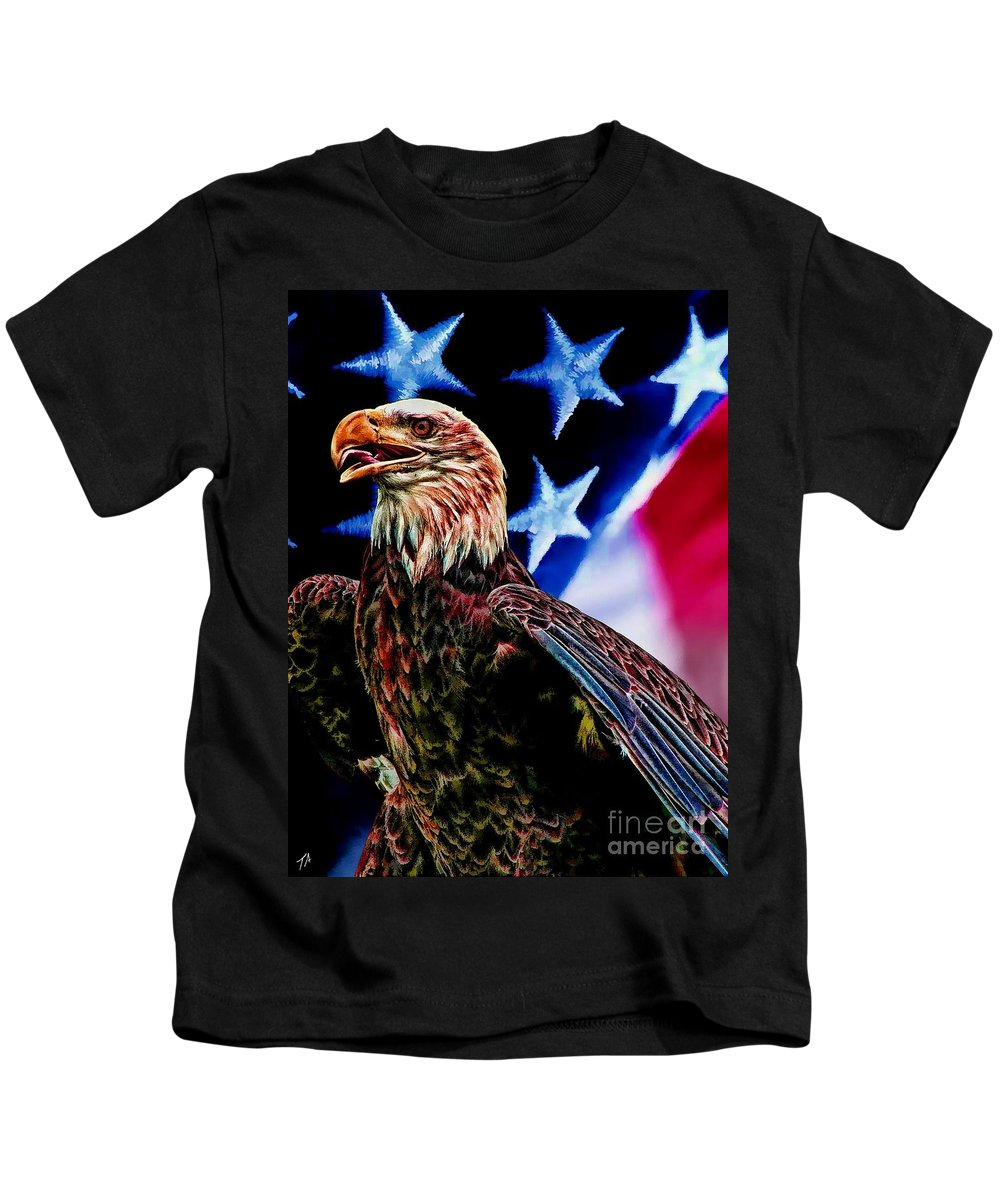 Eagle Kids T-Shirt featuring the digital art Freedom by Tommy Anderson
