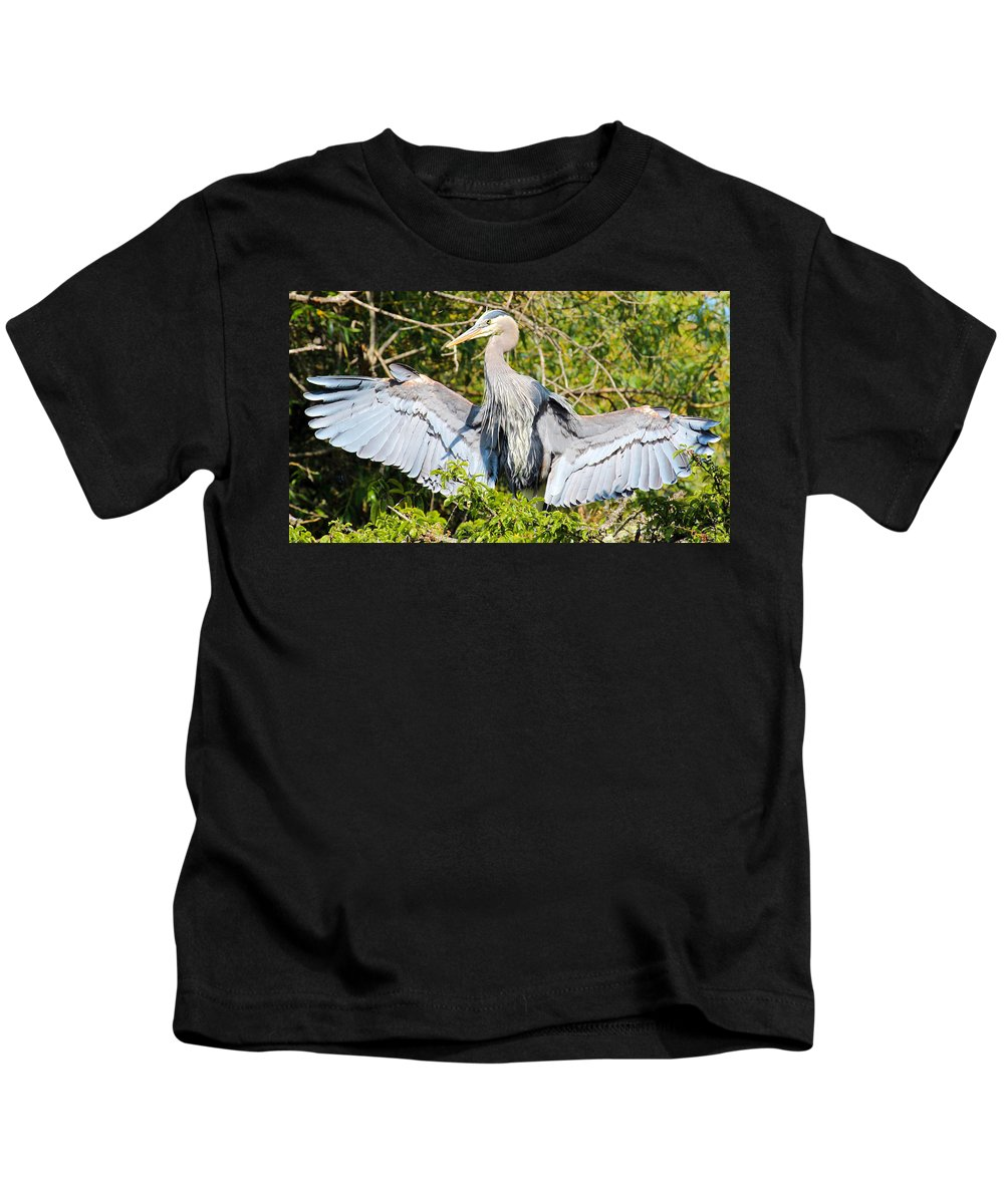 Animal Kids T-Shirt featuring the photograph Great Blue Heron by Paul Fell