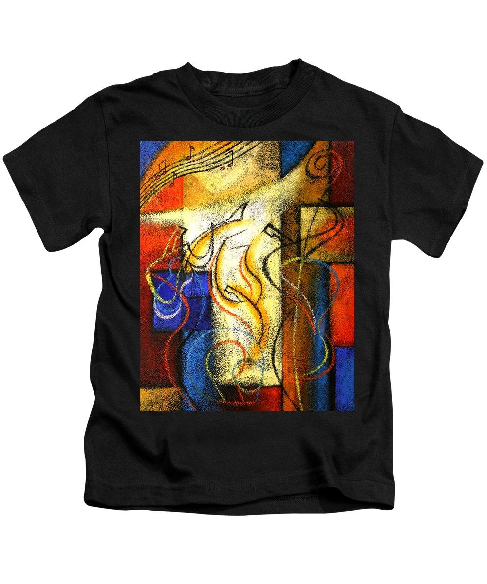 West Coast Jazz Kids T-Shirt featuring the painting Jazz-funk by Leon Zernitsky
