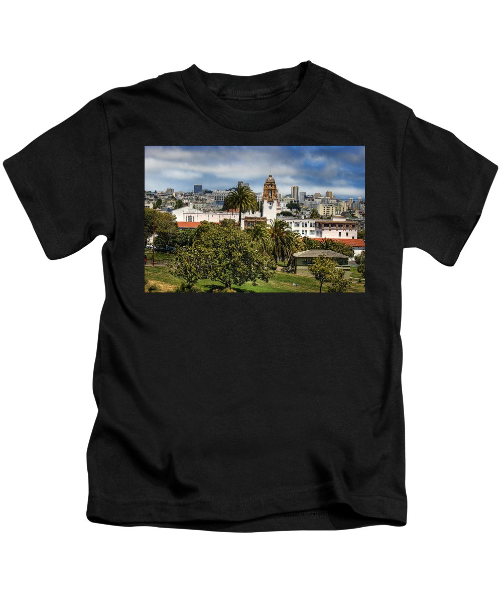 Mission Dolores Park Kids T-Shirt featuring the photograph Mission Dolores Park by Jay Hooker