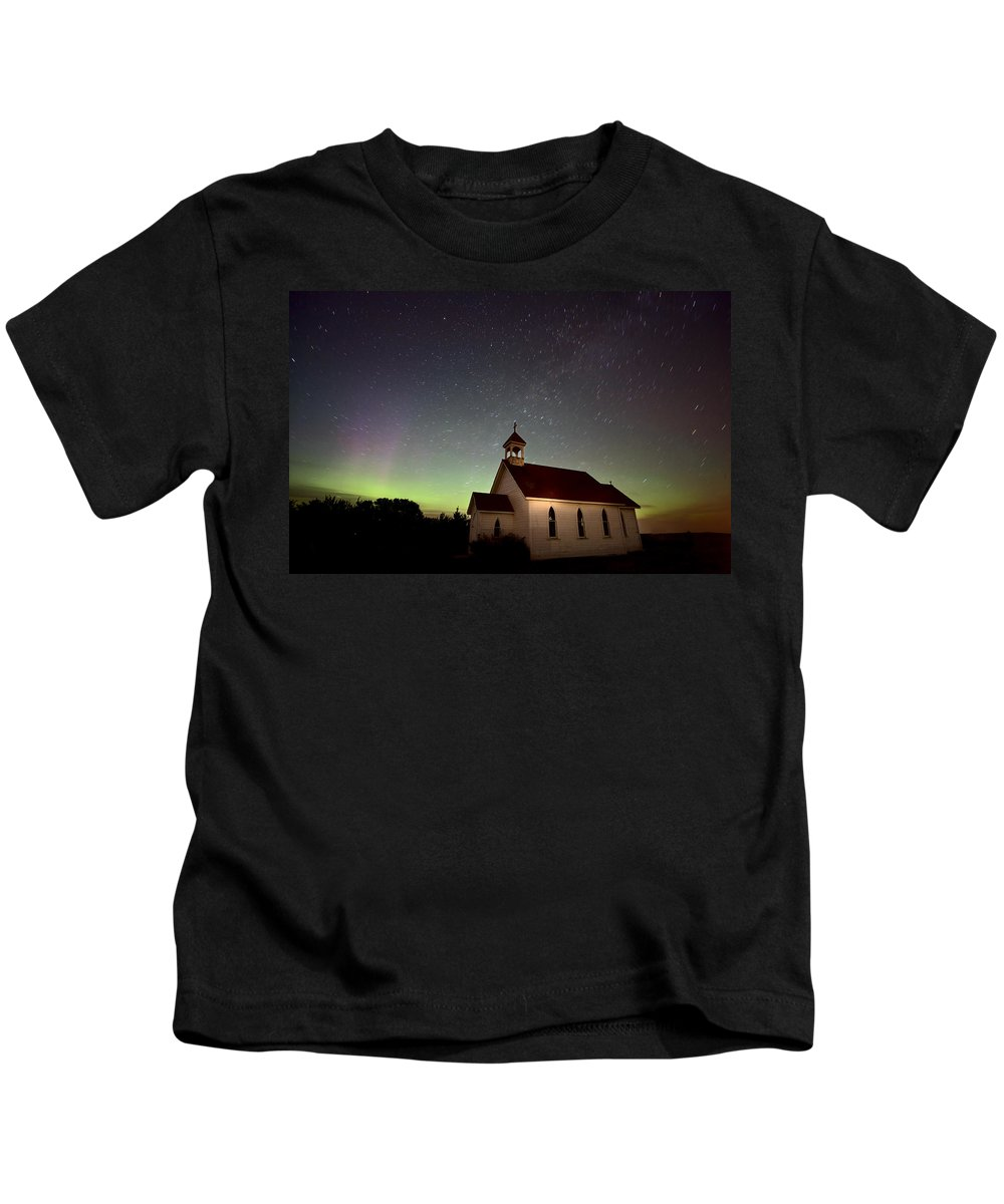 Aurora Kids T-Shirt featuring the digital art Night Church Northern Lights by Mark Duffy