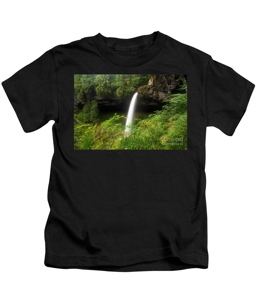 Silver Falls Kids T-Shirt featuring the photograph North Falls Canyon by Adam Jewell