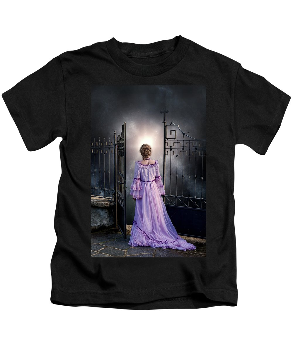 Woman Kids T-Shirt featuring the photograph Open Gate by Joana Kruse