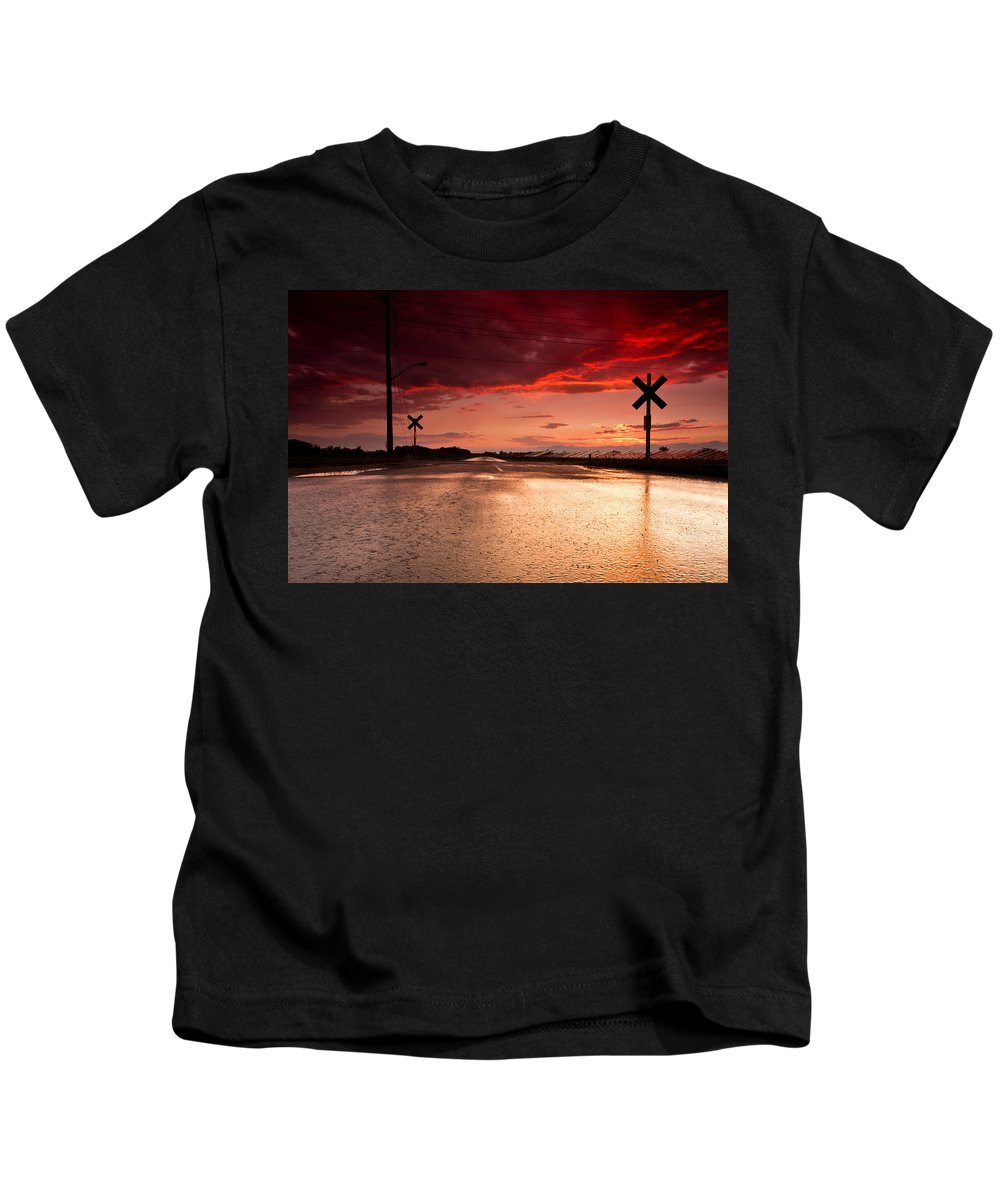Rail Kids T-Shirt featuring the photograph Railroad Sunset by Cale Best