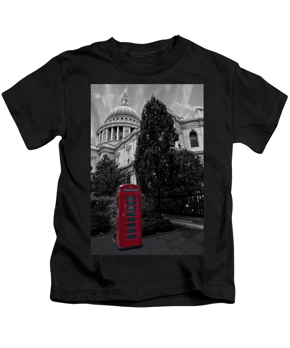 Telephone Box Kids T-Shirt featuring the photograph Red Telephone Box by Dawn OConnor