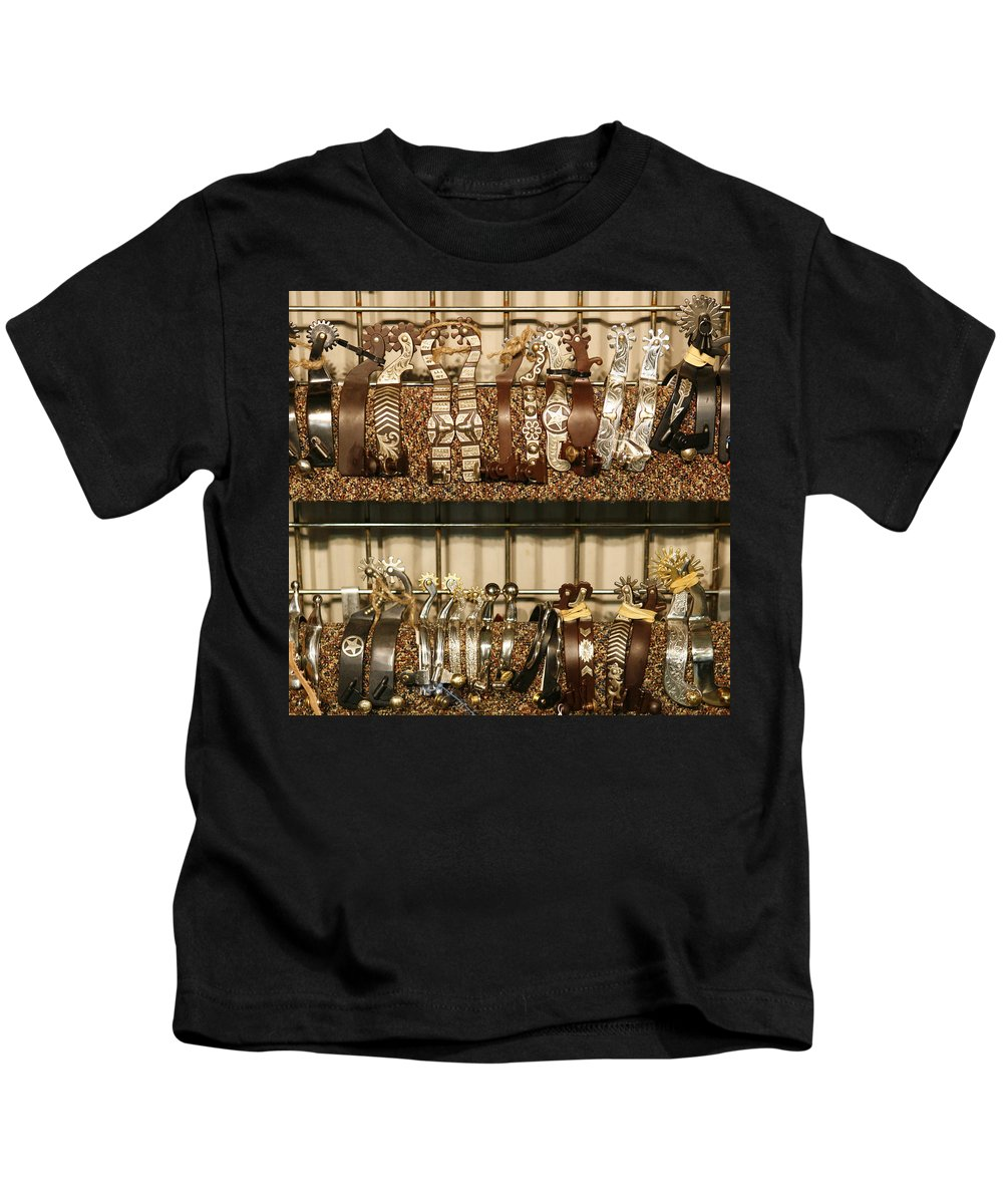 Horse Kids T-Shirt featuring the photograph Spurs by Marilyn Hunt