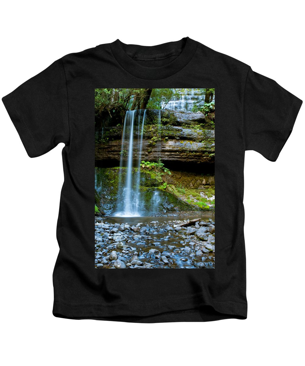 Adventure Kids T-Shirt featuring the photograph Waterfall In Deep Forest by U Schade