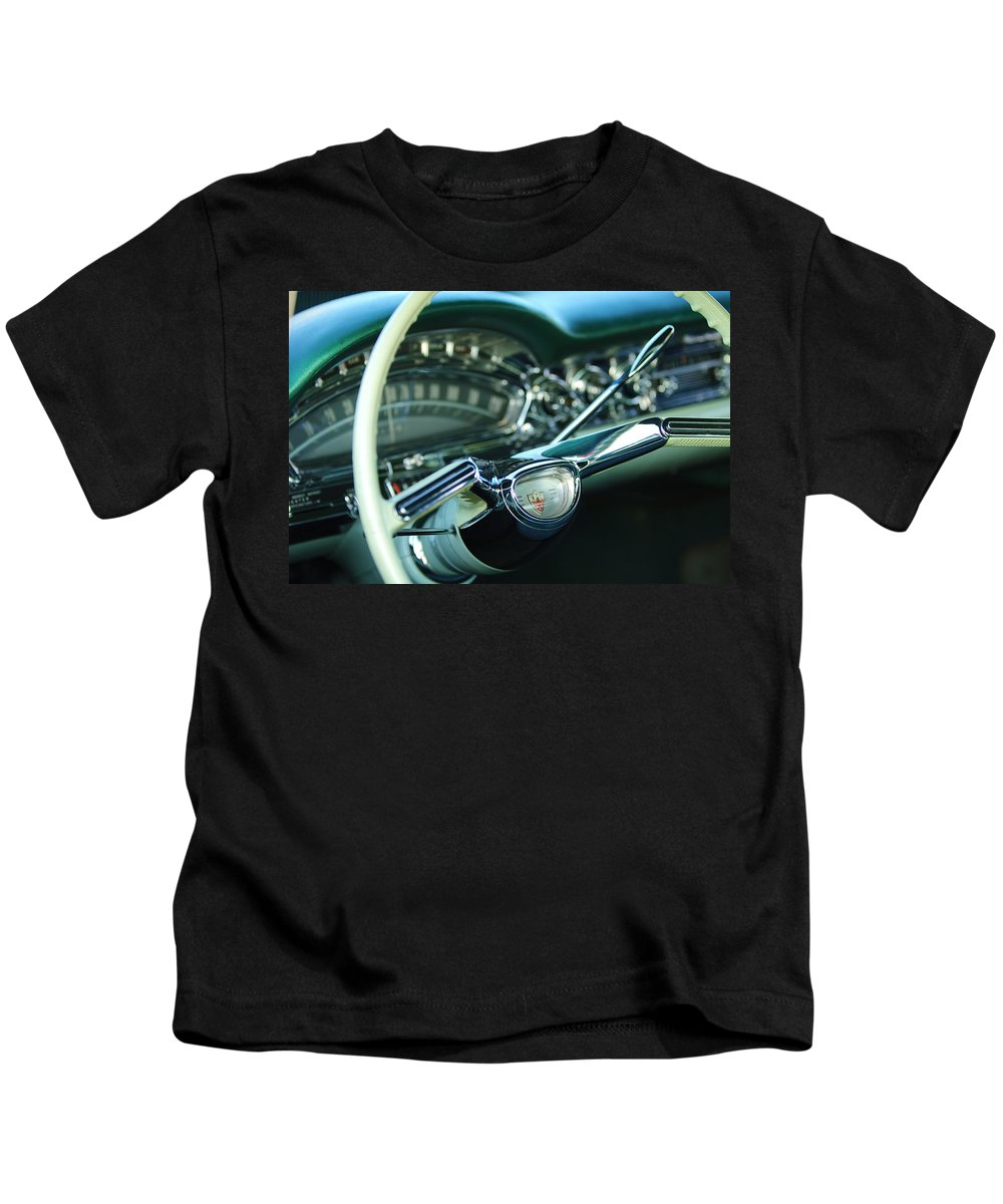 1958 Oldsmobile 98 Kids T-Shirt featuring the photograph 1958 Oldsmobile 98 Steering Wheel by Jill Reger