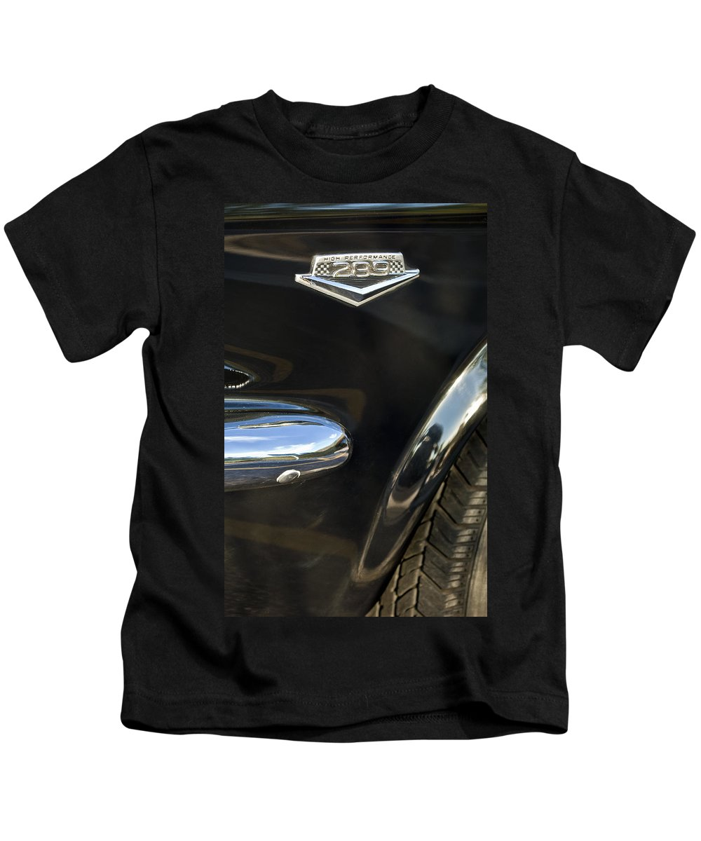 1965 Ford Mustang Kids T-Shirt featuring the photograph 1965 Ford Mustang Emblem 3 by Jill Reger