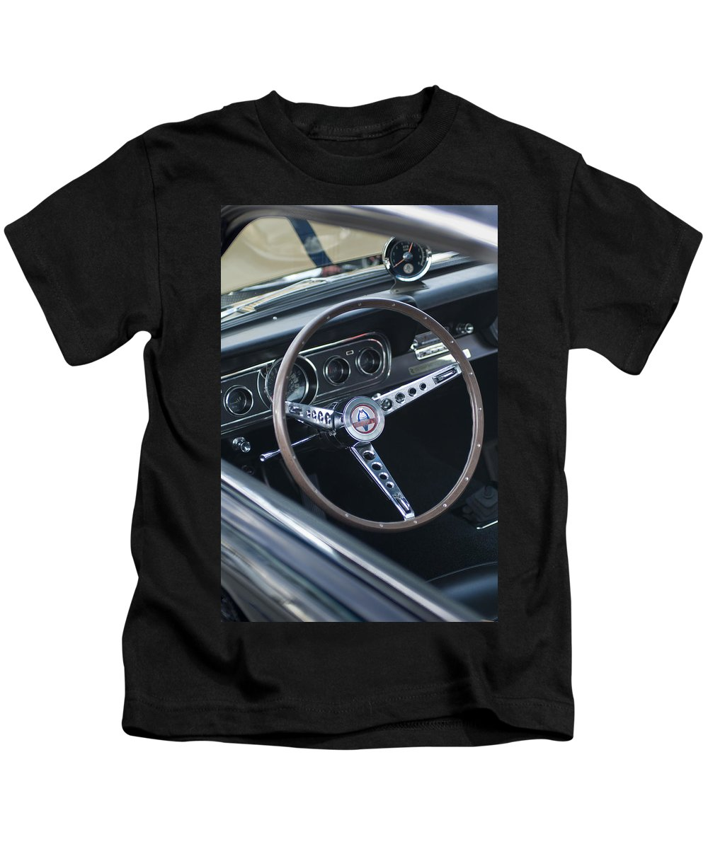 1966 Ford Mustang Cobra Kids T-Shirt featuring the photograph 1966 Ford Mustang Cobra Steering Wheel by Jill Reger
