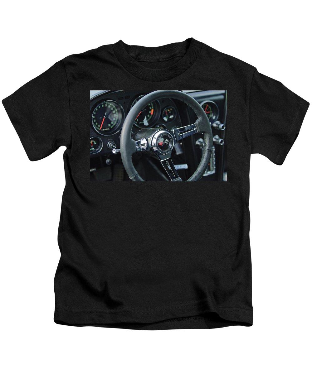 1967 Chevrolet Corvette Kids T-Shirt featuring the photograph 1967 Chevrolet Corvette Steering Wheel by Jill Reger