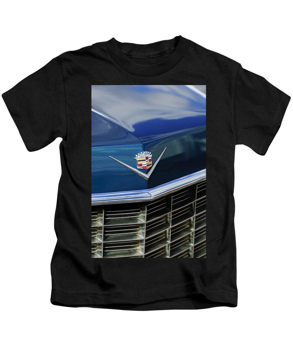 1969 Cadillac Kids T-Shirt featuring the photograph 1969 Cadillac Hood Emblem by Jill Reger