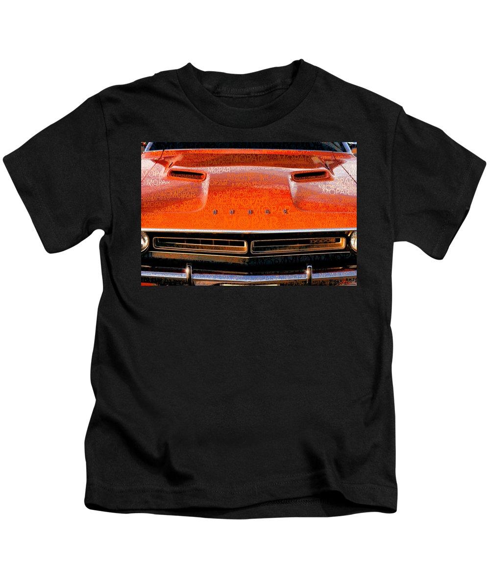 1971 Kids T-Shirt featuring the photograph 1971 Dodge Challenger - Orange Mopar Typography - Mp002 by Gordon Dean II