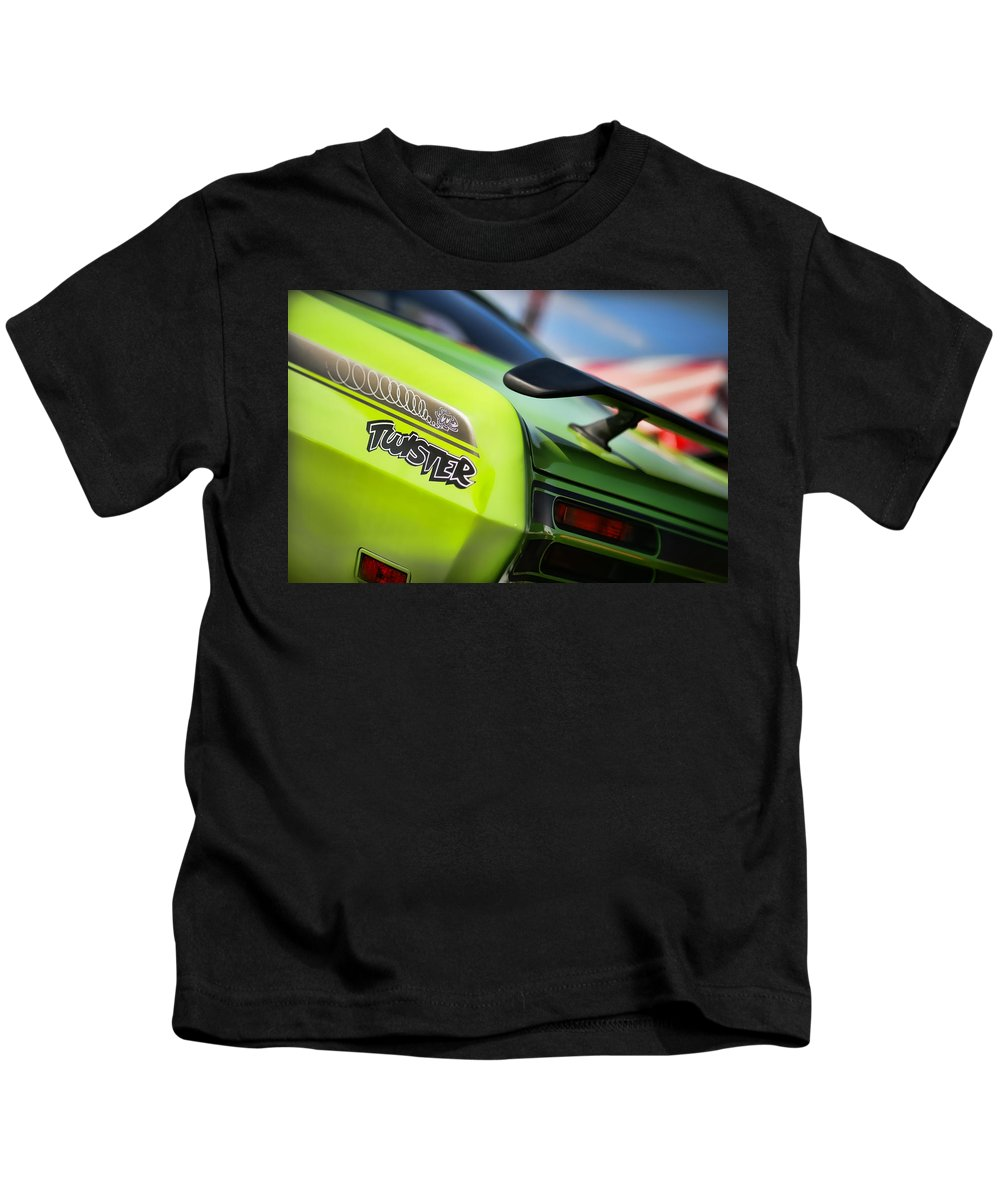Plymouth Kids T-Shirt featuring the photograph 1971 Plymouth Duster Twister by Gordon Dean II