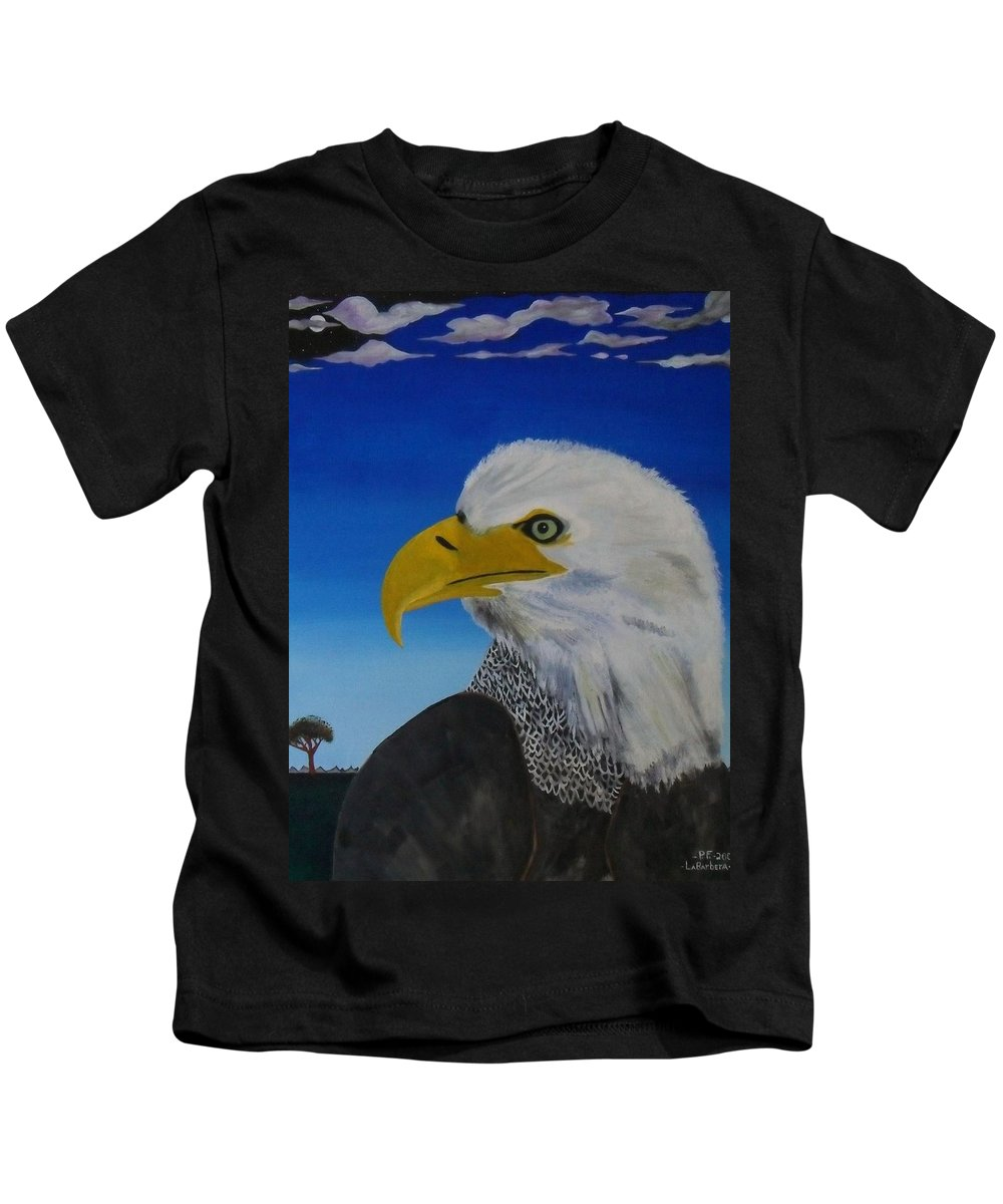 Eagle Kids T-Shirt featuring the painting Eagle At Dusk by Paul F Labarbera
