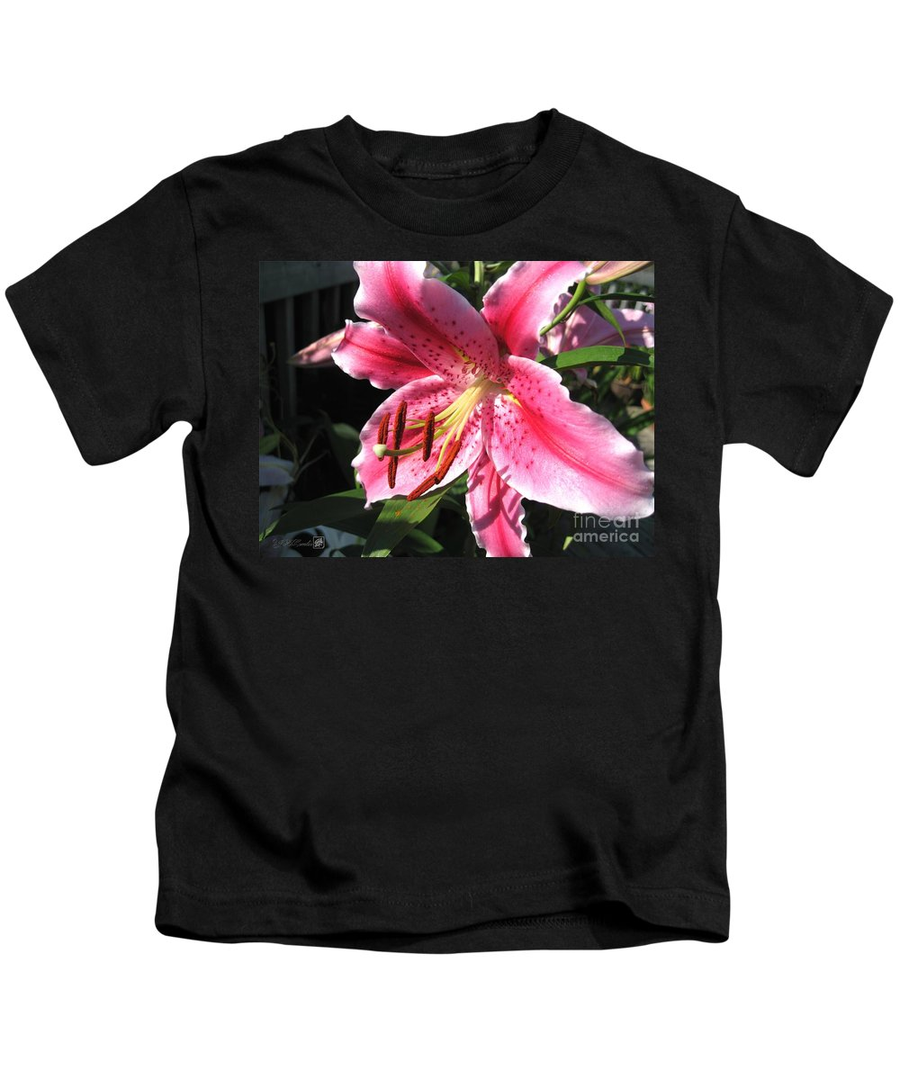 Oriental Lily Kids T-Shirt featuring the photograph Oriental Lily Named Tiber by J McCombie