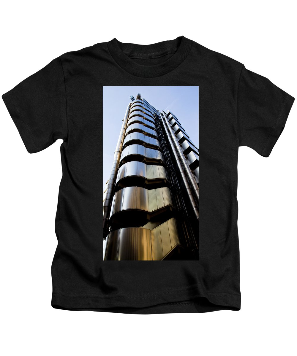 London. England Kids T-Shirt featuring the photograph Lloyds Building Central London by David Pyatt