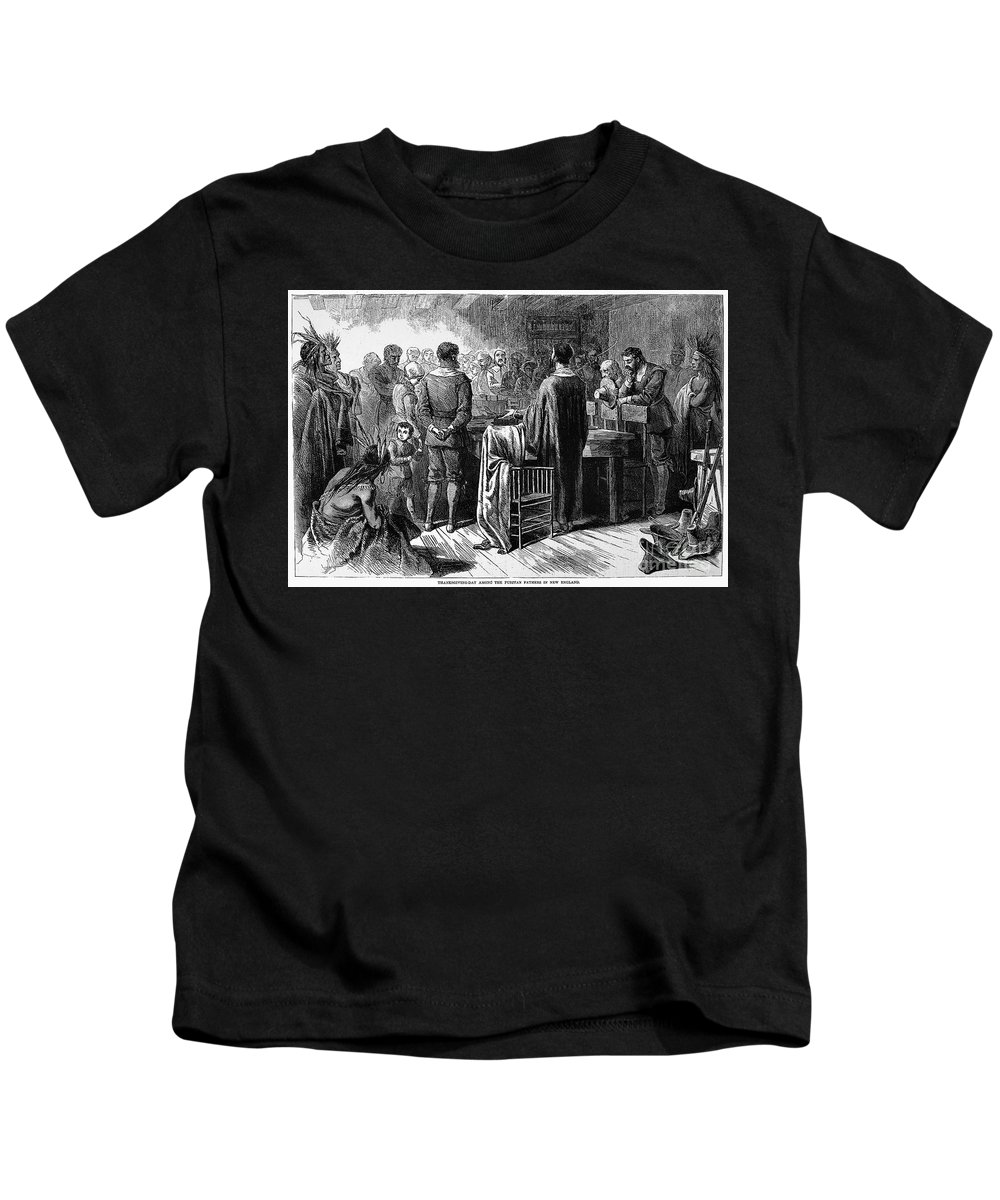 1621 Kids T-Shirt featuring the photograph Pilgrims: Thanksgiving, 1621 by Granger
