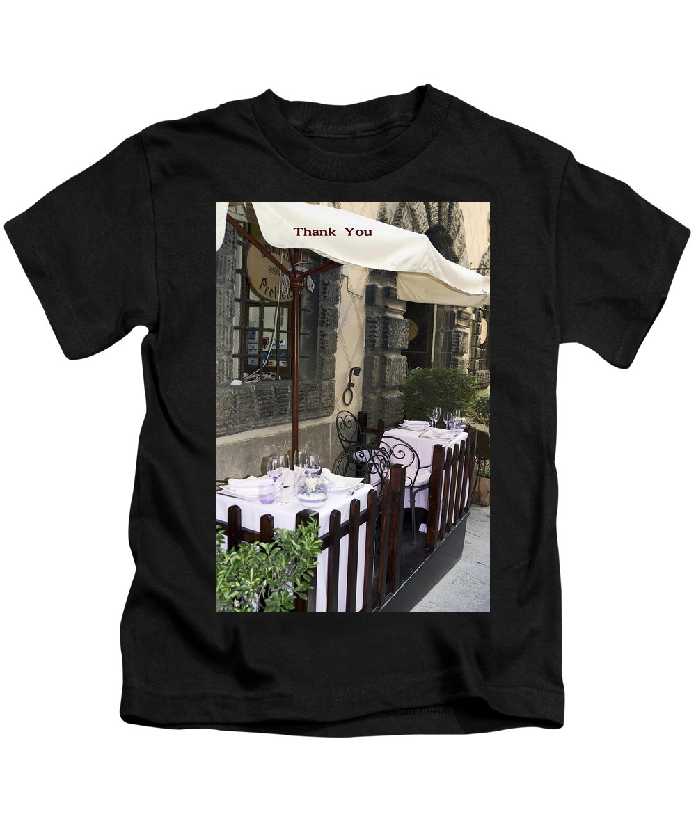 2 Tables Set Kids T-Shirt featuring the photograph Thank You by Sally Weigand