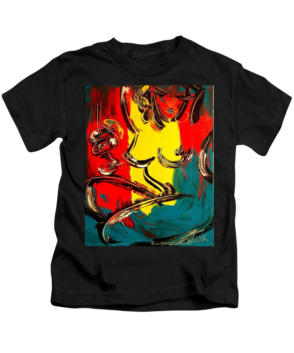 Music Jazz Piano Red Landscape Framed Prints Kids T-Shirt featuring the mixed media Nude by Mark Kazav