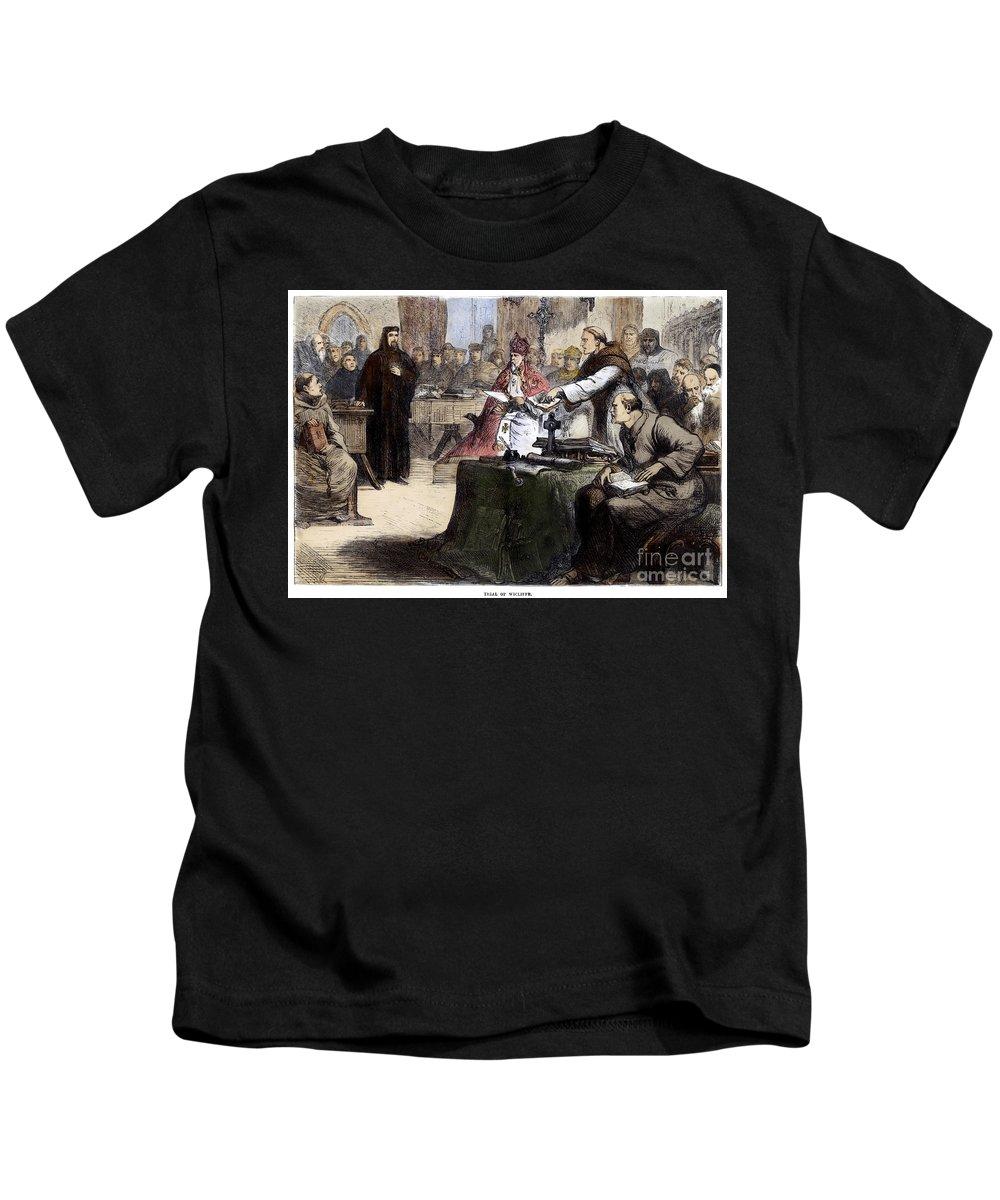 1382 Kids T-Shirt featuring the photograph John Wycliffe (1320?-1384) by Granger