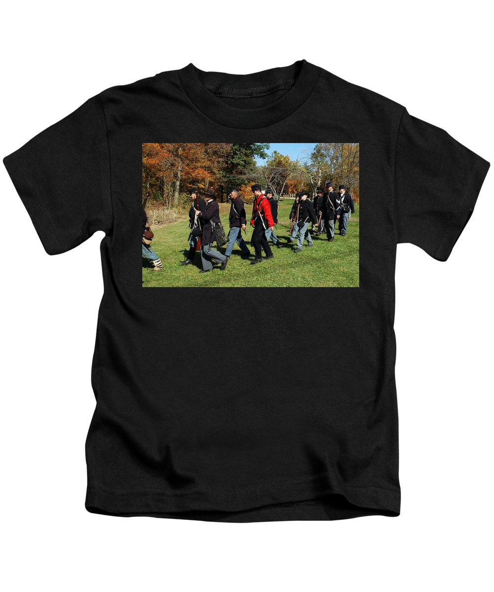 Usa Kids T-Shirt featuring the photograph Soldiers March by LeeAnn McLaneGoetz McLaneGoetzStudioLLCcom