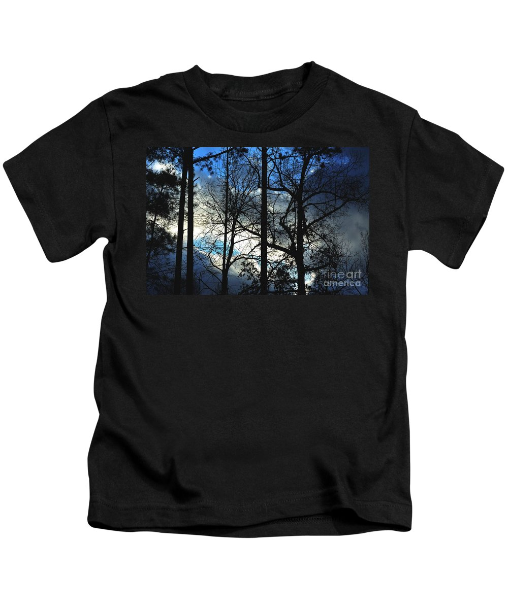 Skies Kids T-Shirt featuring the photograph A Blue Winter's Eve by Maria Urso
