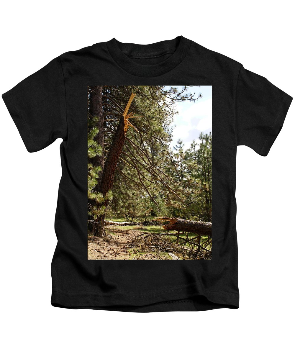 Trees Kids T-Shirt featuring the photograph A Broken Tree by Ben Upham III
