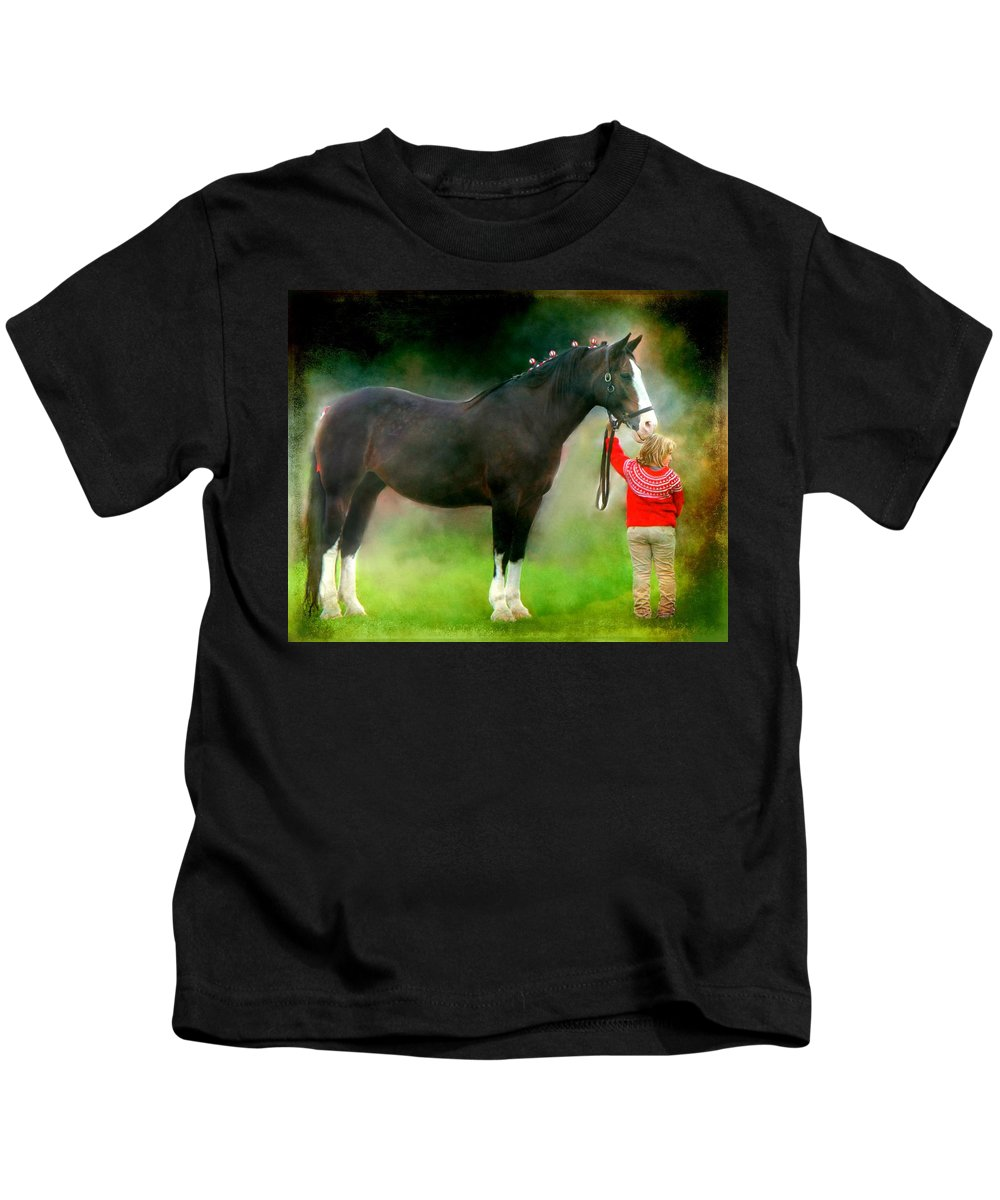Girl Kids T-Shirt featuring the photograph A Girl And Her Horse by Davandra Cribbie