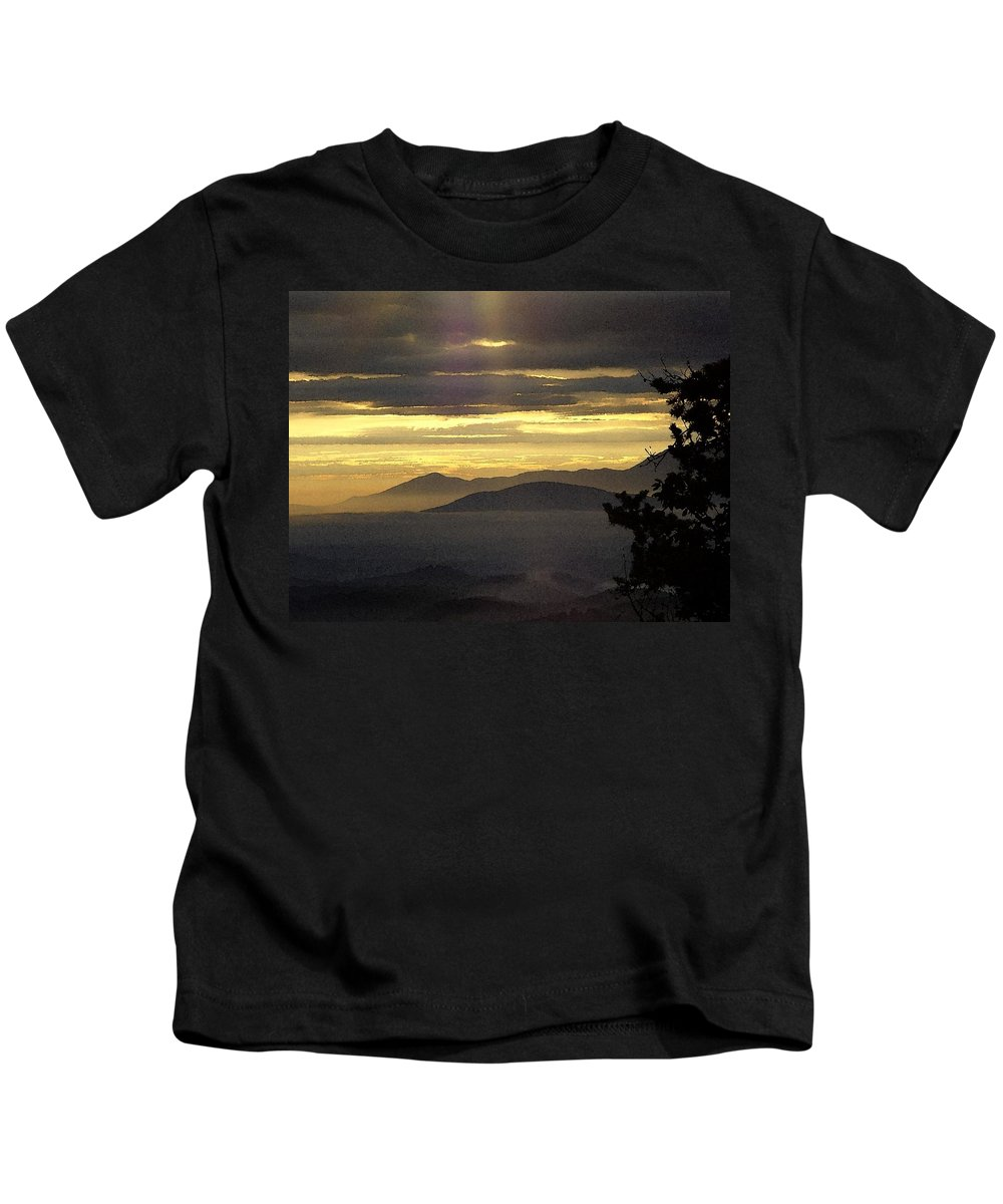 Kids T-Shirt featuring the digital art A Golden Morning Creation by Barkley Simpson