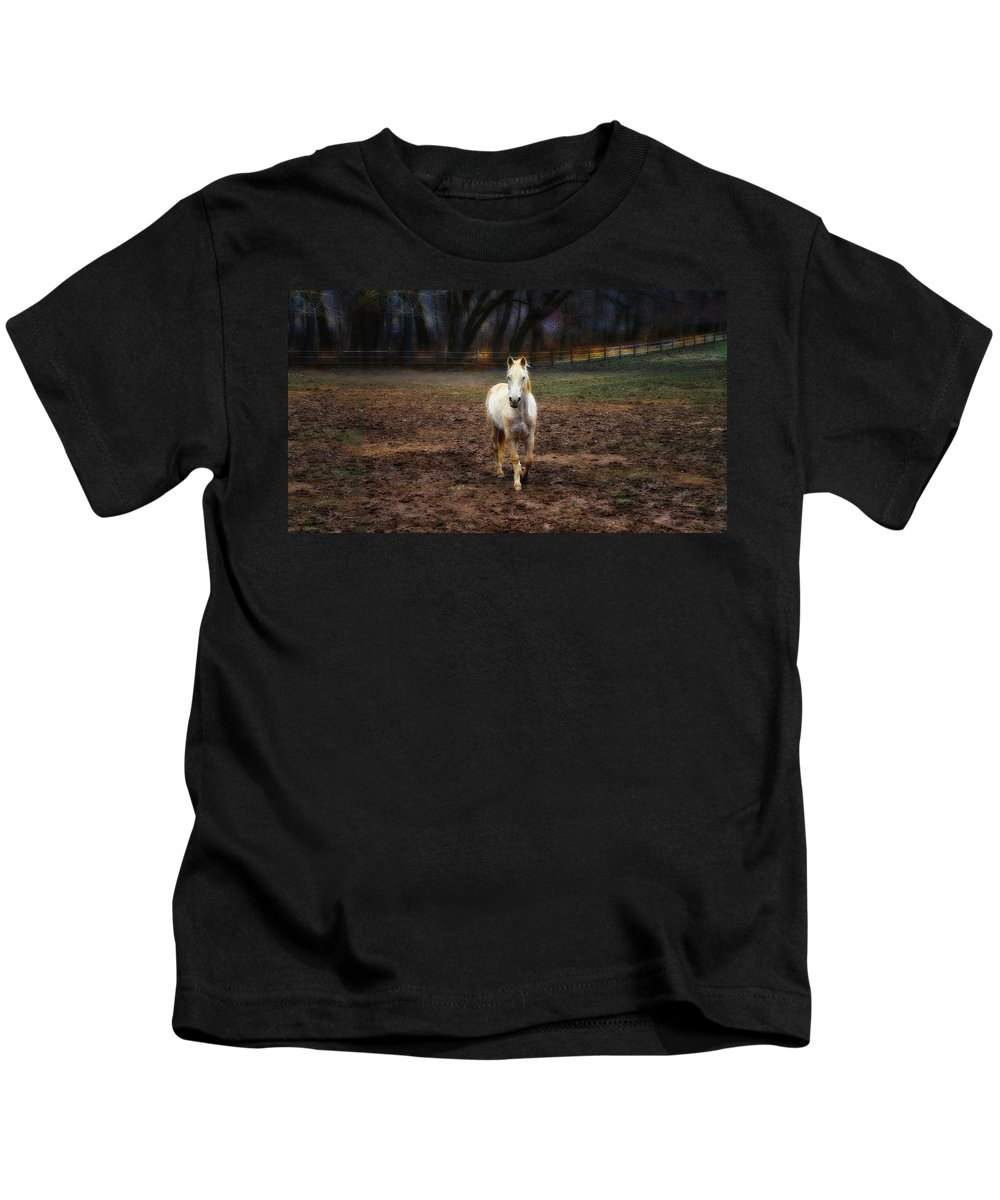 A Horse Of Course Kids T-Shirt featuring the photograph A Horse Of Course by Bill Cannon