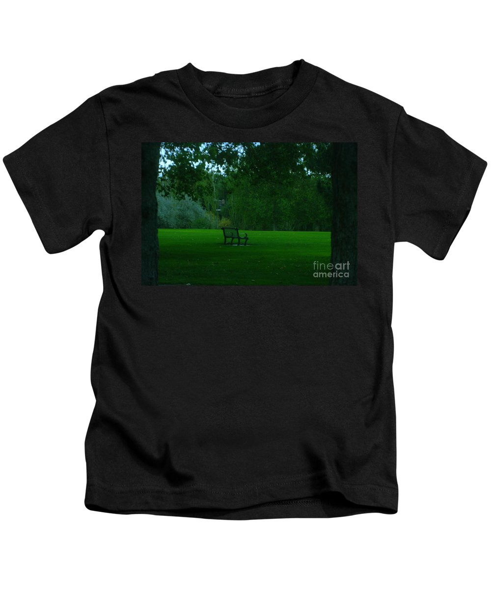 Autumn. Bench Kids T-Shirt featuring the photograph A Lonely Autumn Bench by Jeff Swan