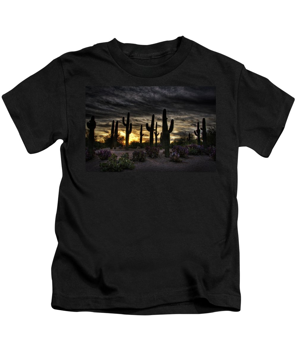 Sunrise Kids T-Shirt featuring the photograph A Saguaro Sunrise by Saija Lehtonen