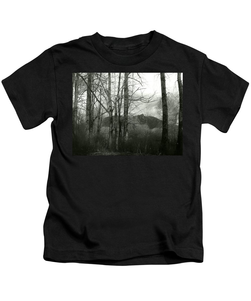 Black And White Kids T-Shirt featuring the photograph A View Through The Trees Bw by Kathleen Grace