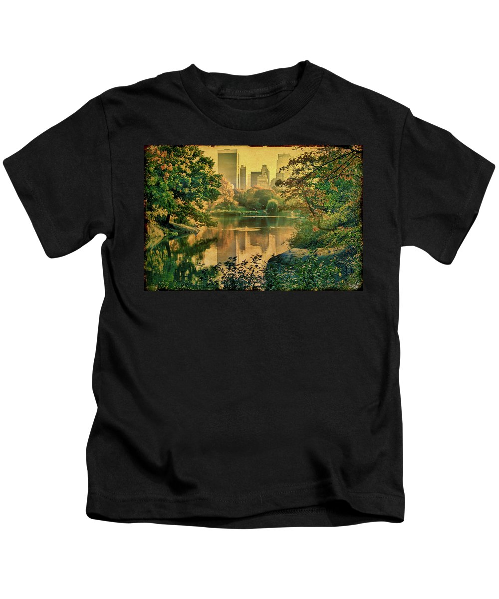 Autumn Kids T-Shirt featuring the photograph A Vintage Glimpse Of The Boating Lake by Chris Lord