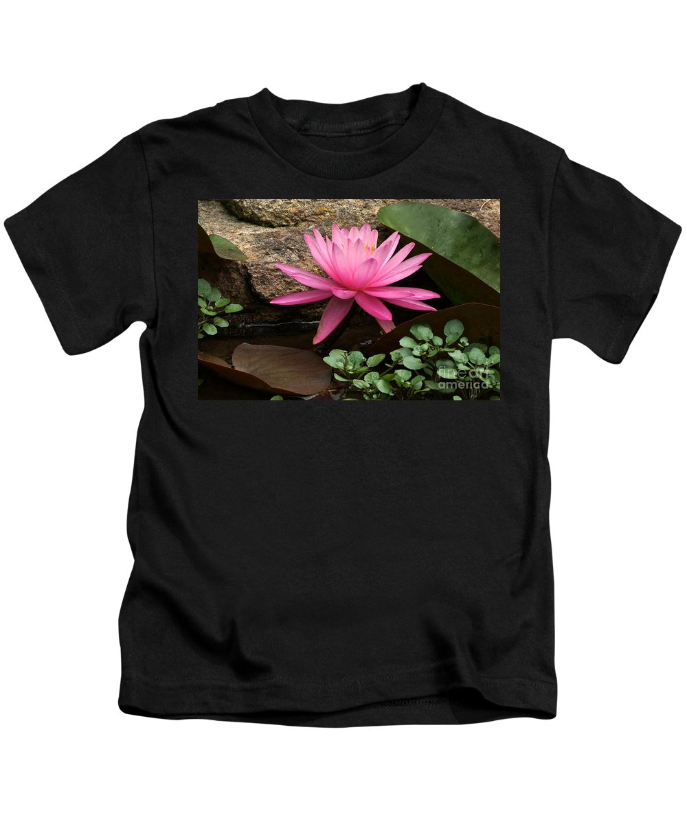 Pink Waterlily Kids T-Shirt featuring the photograph A Waterlily's Grace by Byron Varvarigos