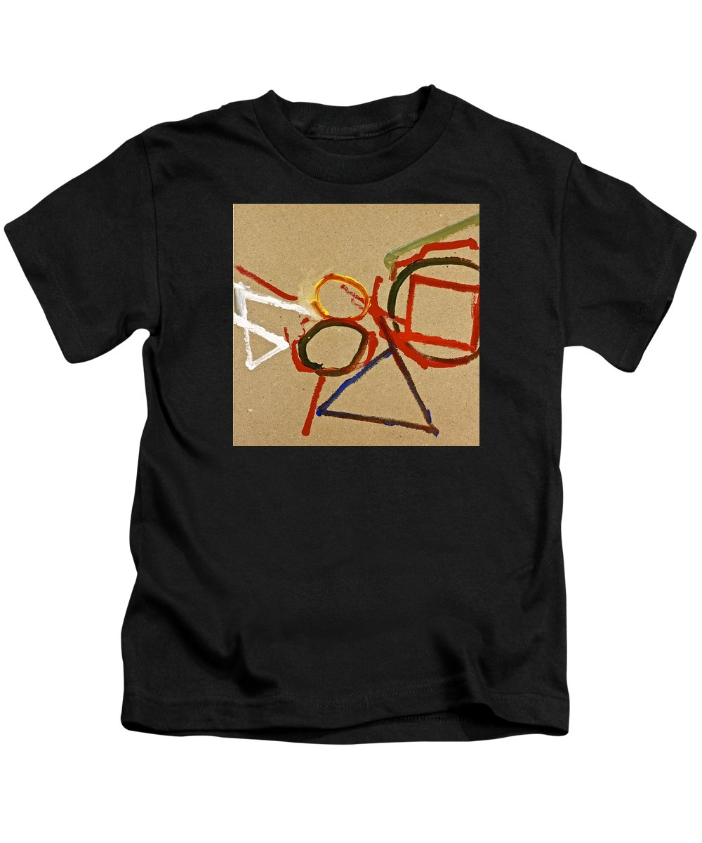 Abstract Paintings Kids T-Shirt featuring the painting A Wedgie In Balance Or Not- Lesson 2 by Cliff Spohn