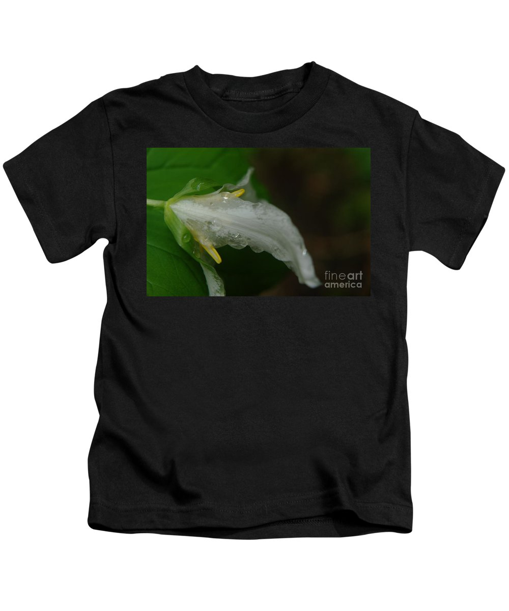 Water Drops Kids T-Shirt featuring the photograph A Wet Trillium by Jeff Swan