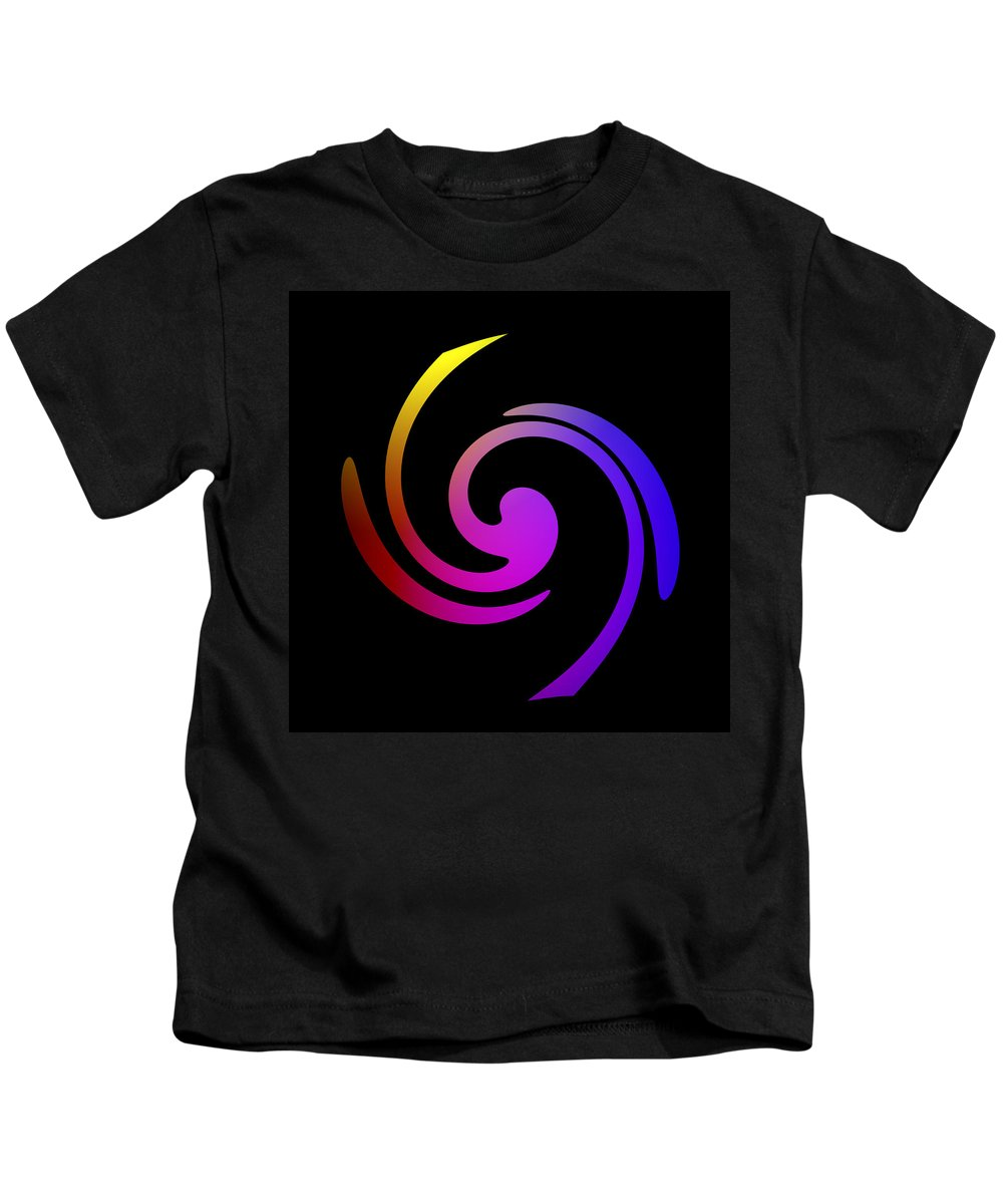 Form Forms Black White Triangle Geometric Abstract Art Minimalism Spiral Digital Painting Color Colorful Kids T-Shirt featuring the digital art Abstract Spiral Color by Steve K