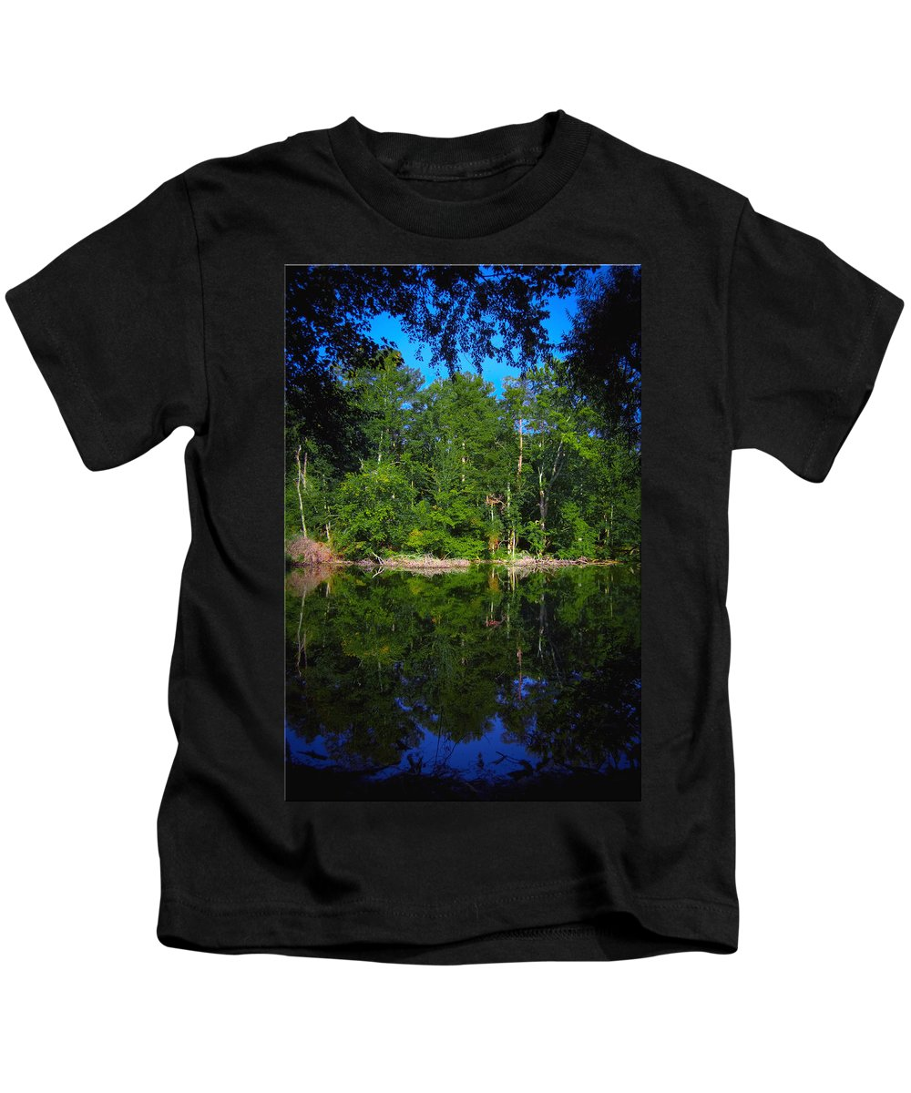 Lake Kids T-Shirt featuring the photograph Across The Lake by DigiArt Diaries by Vicky B Fuller