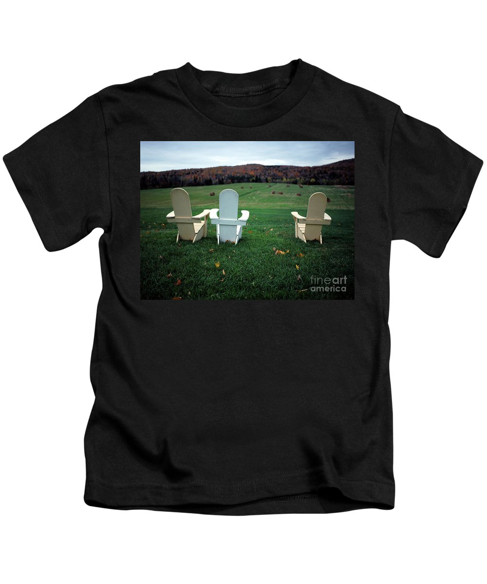 Adirondack Kids T-Shirt featuring the photograph Adirondack Chairs by Mike Nellums