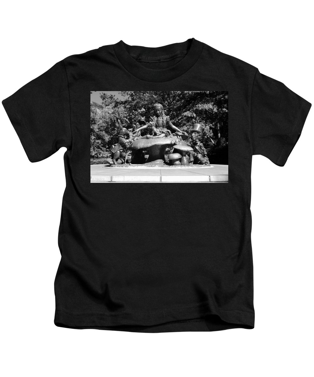 Central Park Kids T-Shirt featuring the photograph Alice In Wonderland In Central Park In Black And White by Rob Hans