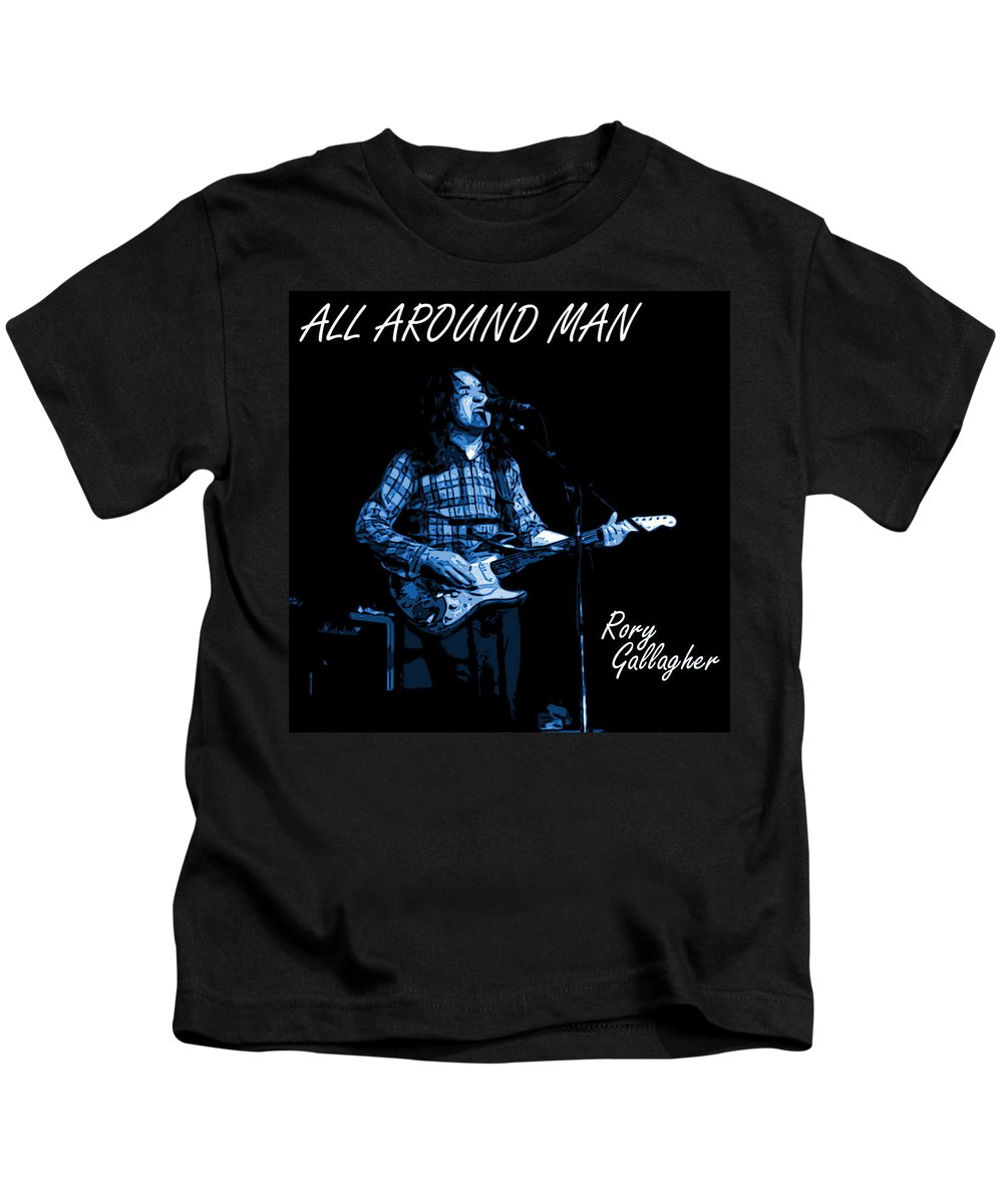 Rock Musicians Kids T-Shirt featuring the photograph All Around Man Blues Square by Ben Upham
