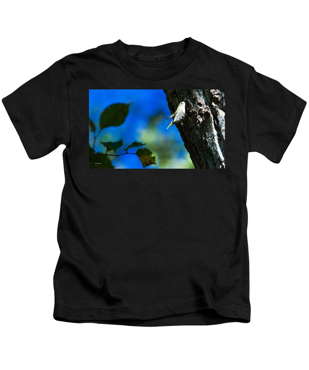 American Goldfinch Kids T-Shirt featuring the photograph American Goldfinch Leaving by Edward Peterson
