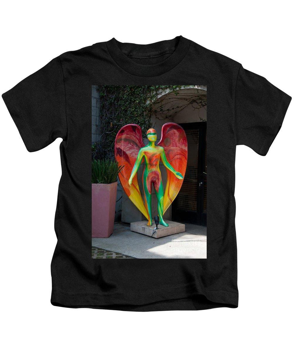 Artistic Sculpture Kids T-Shirt featuring the digital art An Angel by Carol Ailles