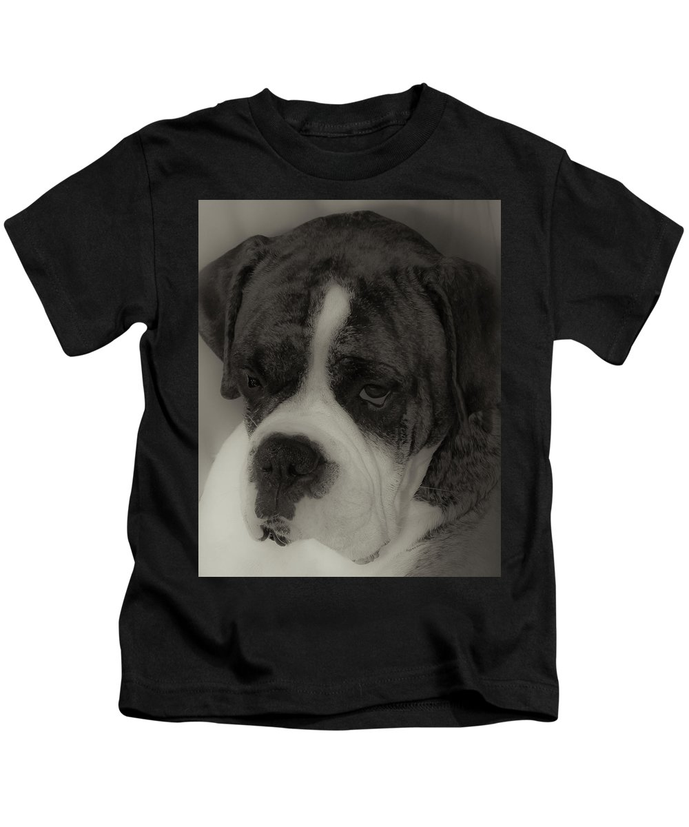 Boxer Kids T-Shirt featuring the photograph Angelic Boxer by DigiArt Diaries by Vicky B Fuller