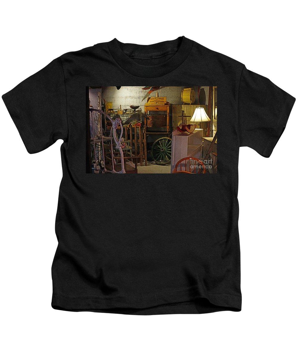 Antiques Kids T-Shirt featuring the photograph Antique Basement by Randy Harris