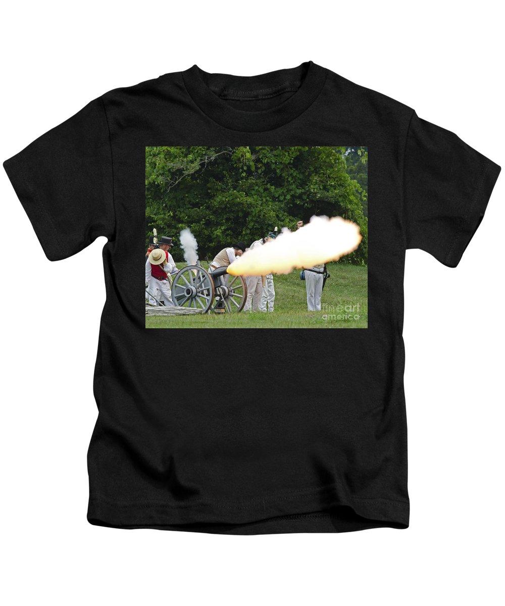 War Of 1812 Kids T-Shirt featuring the photograph Artillery Demonstration by JT Lewis