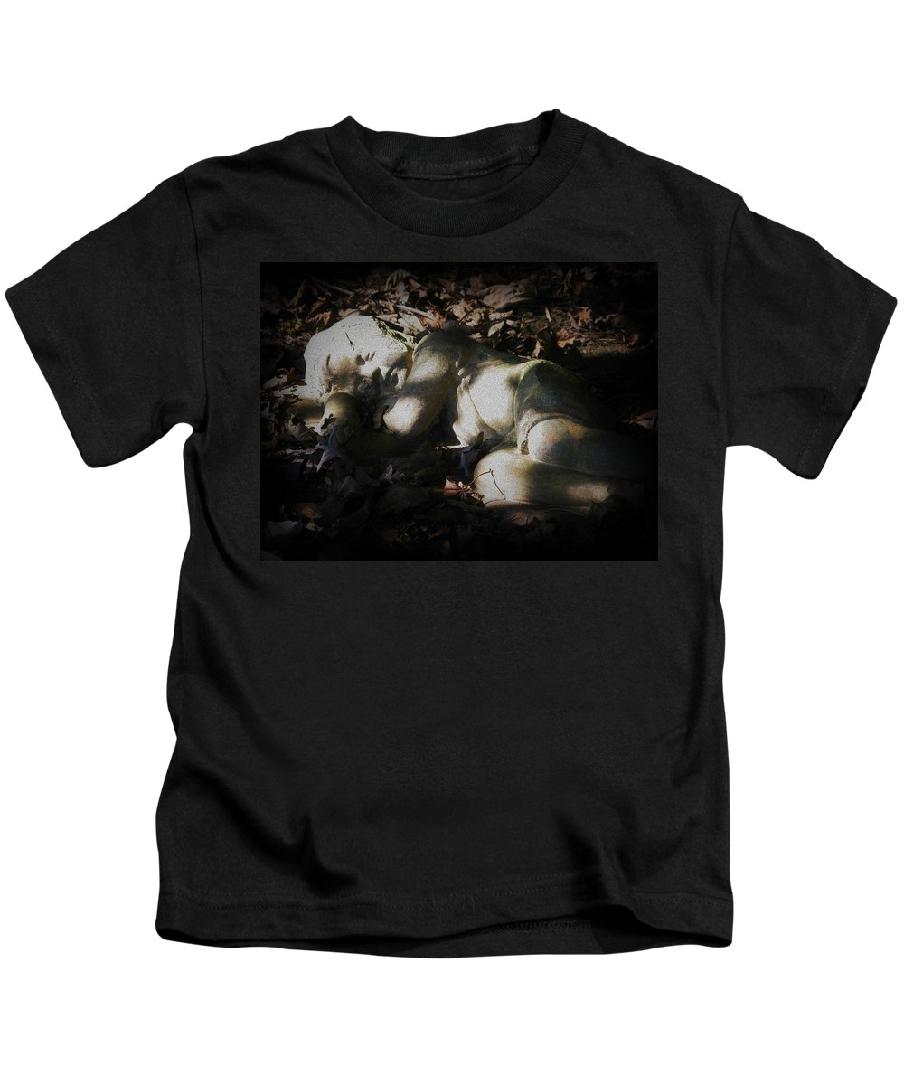 Statue Kids T-Shirt featuring the photograph Asleep In The Leaves by Michele Nelson